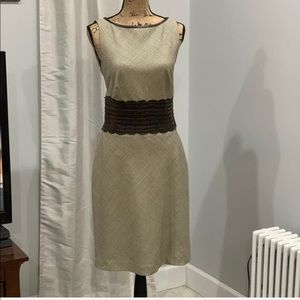 Kay Unger NY wool blend dress w/ leather detail 10